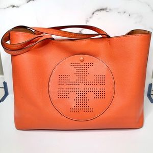 Tory Burch Perforated Logo Tote Handbag